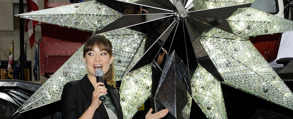 Olivia Wilde Unveils The Swarovski Star In Rockefeller Center