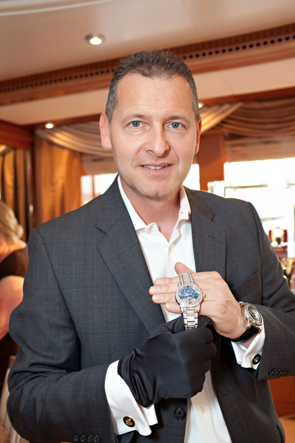 Patrik Hoffmann with the $1.1 Million Royal Tourbillion on the Lime Light yacht