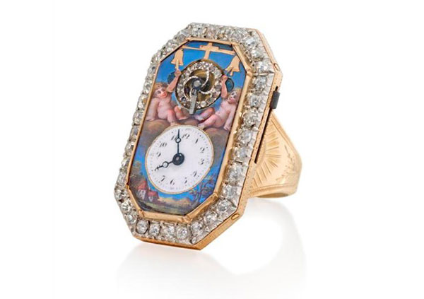 Rare Enamel and Diamond-set Ring Watch