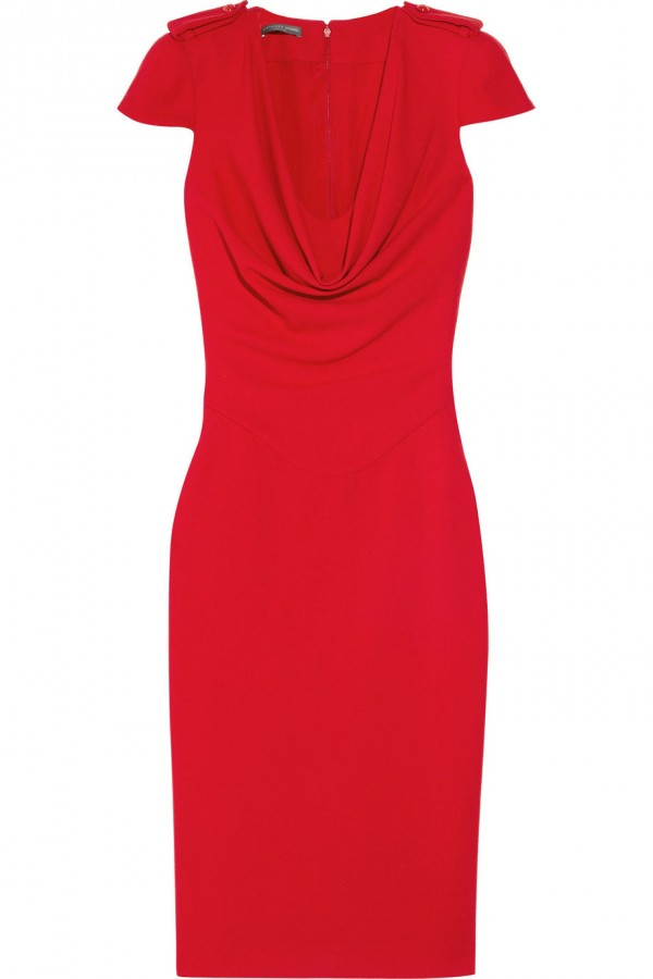 Sarah Burton for Alexander McQueen Cowl-neck Wool-crepe Dress