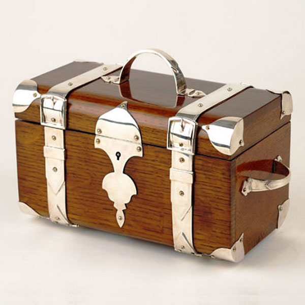 Silver-plate and Oak Humidor Trunk by Ralph Lauren