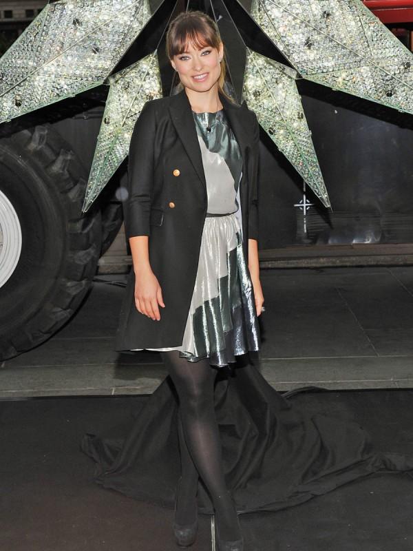 Olivia Wilde Unveils The Swarovski Star In Rockefeller Center