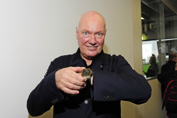 Jean-Claude Biver, CEO of Hublot, with one of the first pieces of Hublot's Magic Gold Watch