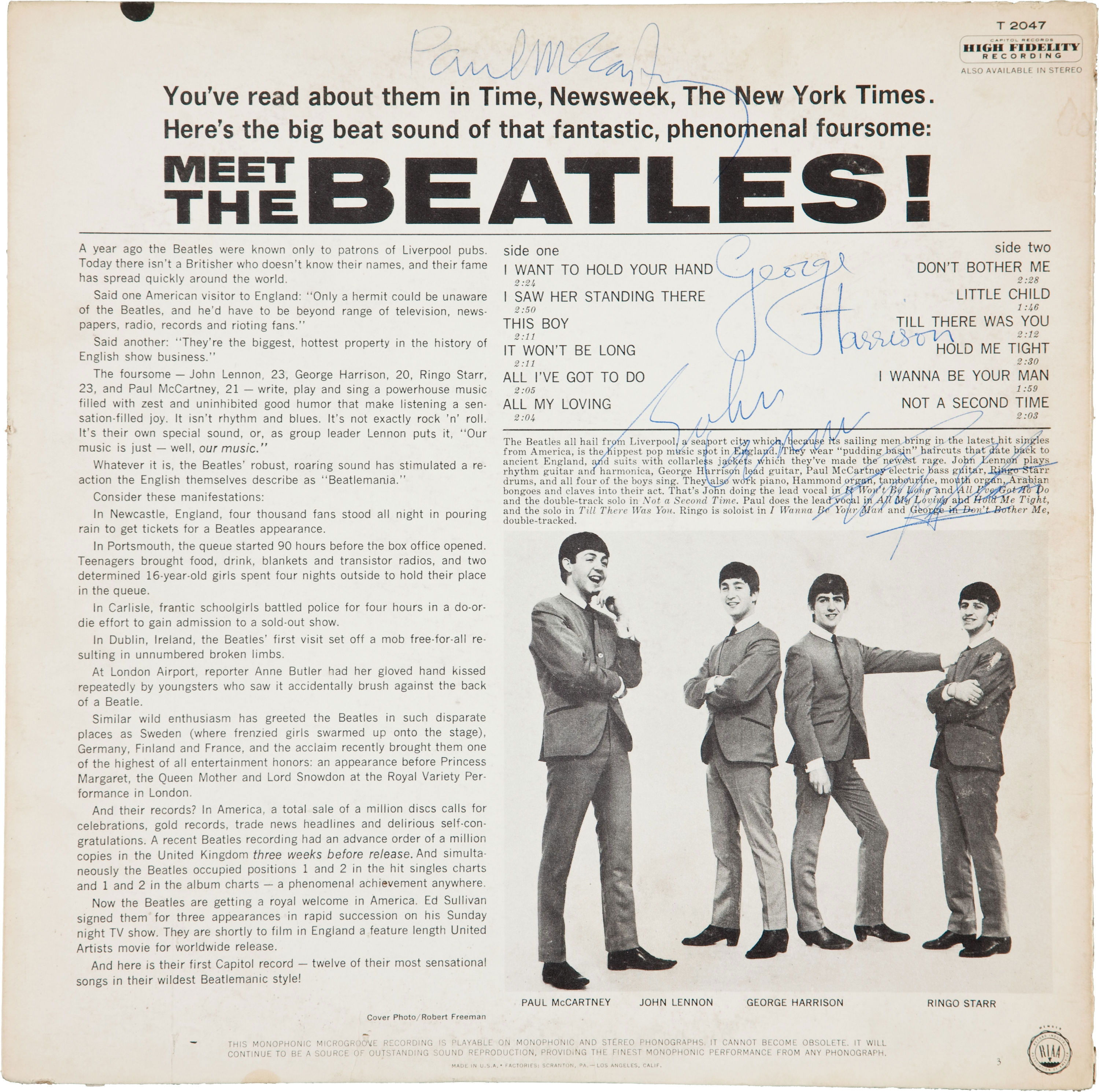 One Of Five Known Signed Copy Of 1964 Meet The Beatles