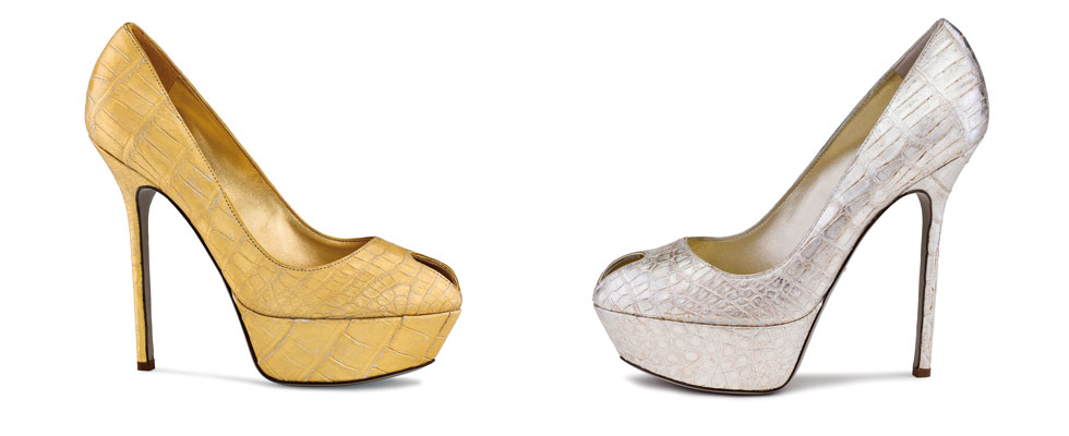 Sergio Rossi Iconic Cachel Pump in 22-carat Gold or Silver Leaf
