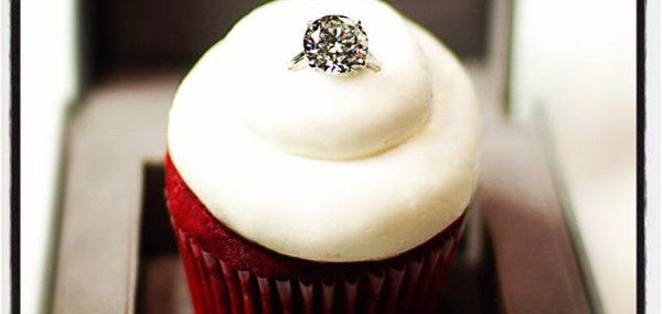 Cupcakes Gourmet's Sparkling Red Velvet Cupcake Topped with a 8-carat Diamond Ring