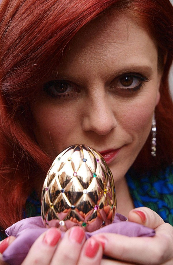Emilia Fox unveils the Diamond Jubilee Faberge Egg