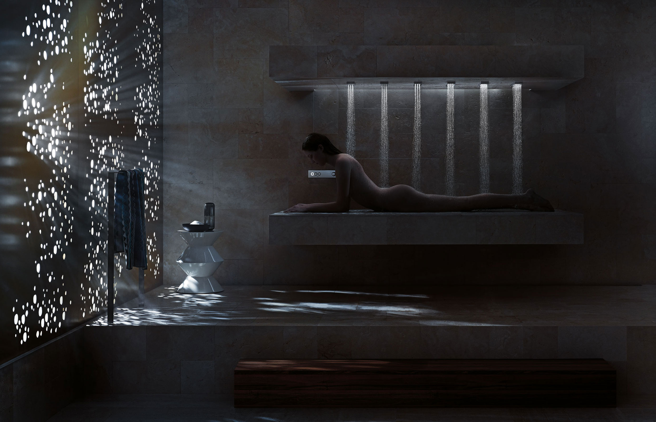 horizontal shower by dornbracht will rejuvenate your body extravaganzi. Black Bedroom Furniture Sets. Home Design Ideas