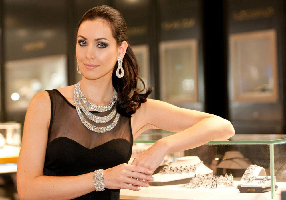 Natalie Glebova with Mouawad's $6.8 Million Snow White Princess Diamond Watch