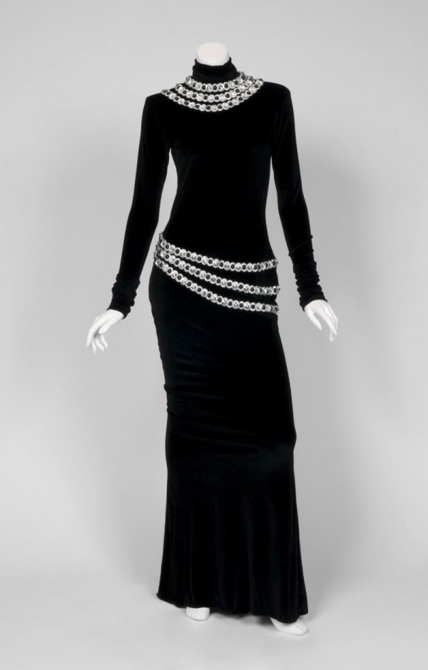 The floor length, long sleeve dress worn by Whitney Houston