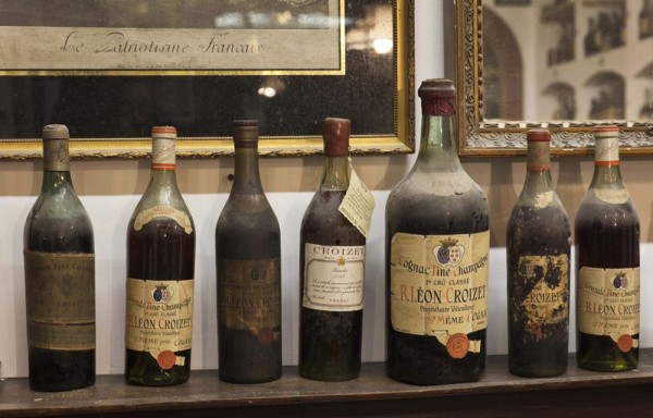 An extremely rare Croizet cognac collection from before 1900 of the antique liquor collection of Bay van der Bunt of the Netherlands is seen in Breda