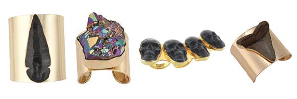 Alchemia Arrowhead Cuff, Titanium Treated Quartz Cuff, Obsidian Skull Knuckle Ring, Fossil Sharks Tooth Cuff