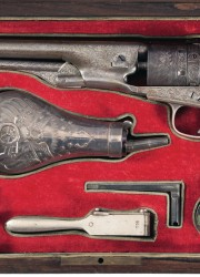 Colt Model 1861 Navy Revolver with Battle Scene Tiffany Grips