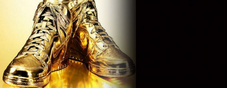 Indulgences No. 5 –  Limited Edition Gold Nike Dunks High Sneakers