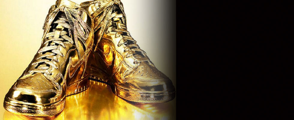 Indulgences No. 5 &#8211;  Limited Edition Gold Nike Dunks High Sneakers