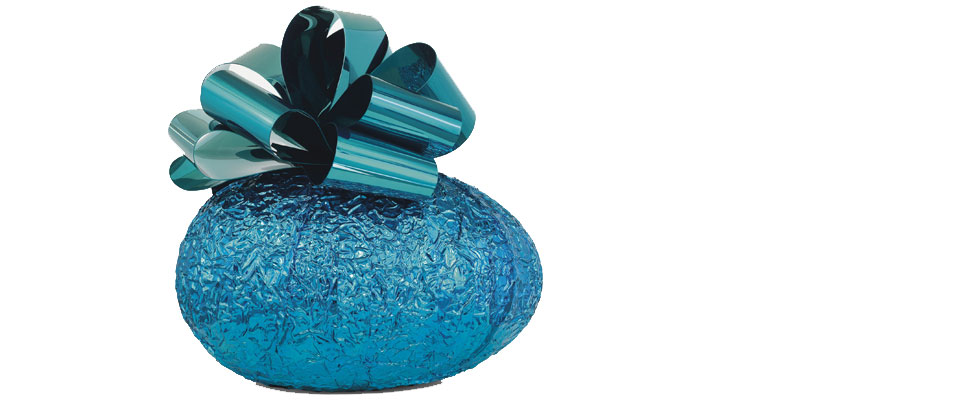 Jeff Koons' Baroque Egg with Bow (Blue/Turquoise)