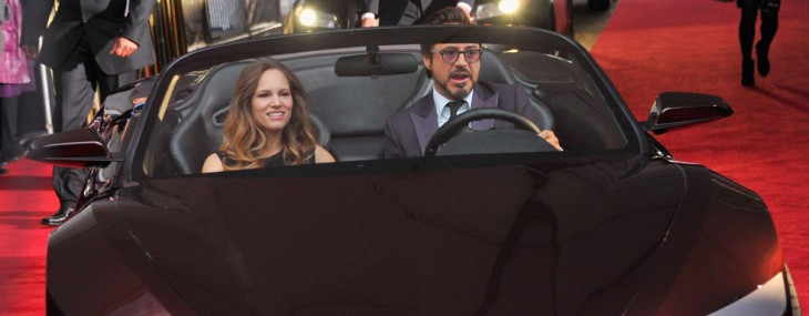 Robert Downey Jr. and his wife Susan arrived at The Avengers premiere in his character Tony Stark's Acura