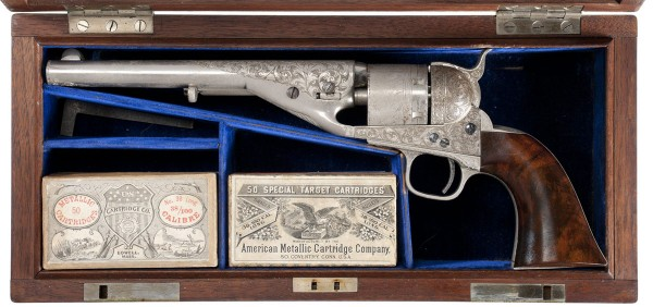 Serial Number 1 Exhibition Engraved and Cased Colt Navy Cartridge Revolver