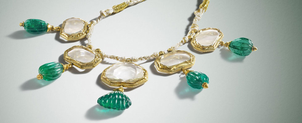 17th Century Mughal Mirror Diamond and Emerald Necklace on a Silk Cord Worth $20 Million for Private Sale at Bonhams
