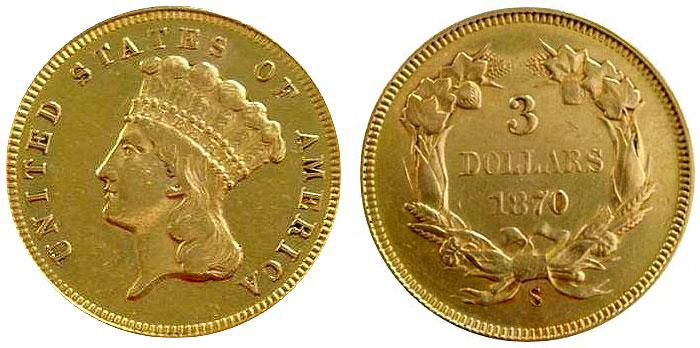 Rare 1870 $3 Gold Coin