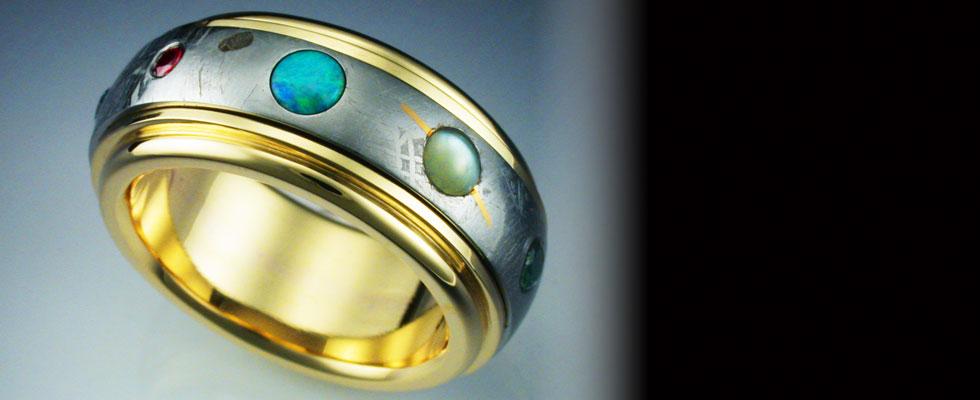 18 karat Gold 9 Planets Gibeon Meteorite Ring