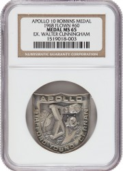 Apollo 10 Flown MS65 NGC Silver Robbins Medallio