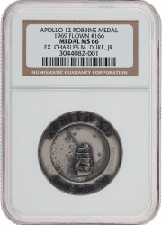 Apollo 12 Flown MS66 NGC Silver Robbins Medalli