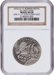 Apollo 13 Flown MS68 NGC Silver Robbins Medallio