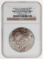 Apollo 13 Unflown PF65 Ultra Cameo NGC Franklin Mint Silver Medal