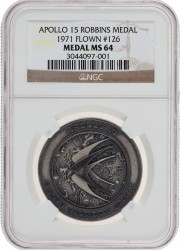 Apollo 15 Flown MS64 NGC Silver Robbins Medallion
