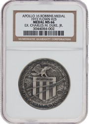 Apollo 16 Flown MS66 NGC Silver Robbins Medallion