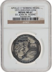 Apollo 17 Unflown MS67 NGC Silver Robbins Medallion