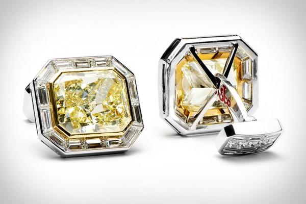 Canary Diamond Cufflinks by Jacob & Co
