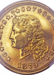 Judd-1636a 1879 Flowing Hair Stella in gilt copper