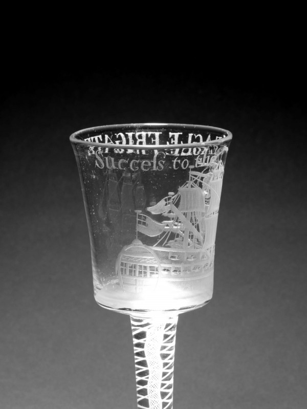 A rare example of a wine glass engraved with a portrait of The Eagle, a privateer, circa 1760.
