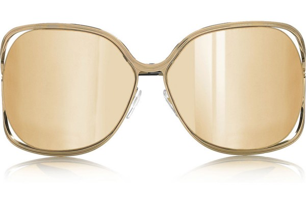 Victoria Beckham Butterfly 18-karat Gold-coated Mirrored Sunglasses