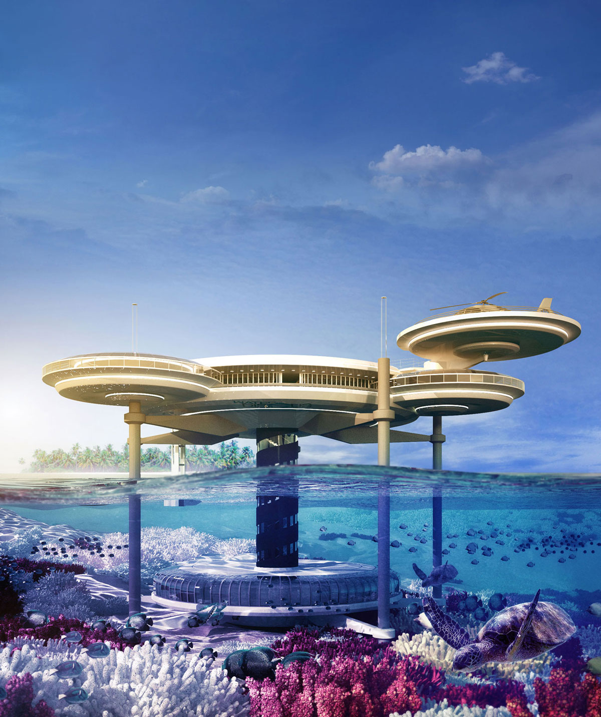 The Water Discus Hotel Emerges from the Depth of Dubai
