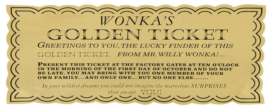 Wonka Gold Ticket