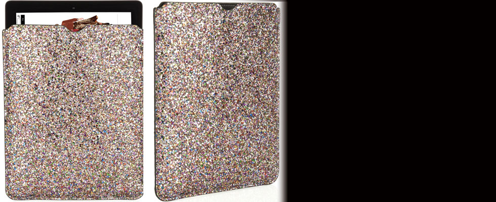 Tyler Glitter-finished Leather iPad Sleeve by Jimmy Choo