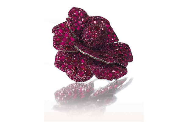 Ruby and Diamond Camellia Flower Brooch