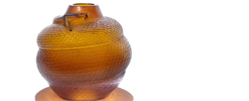 Rare Lalique's Serpent Oviform Amber Vase