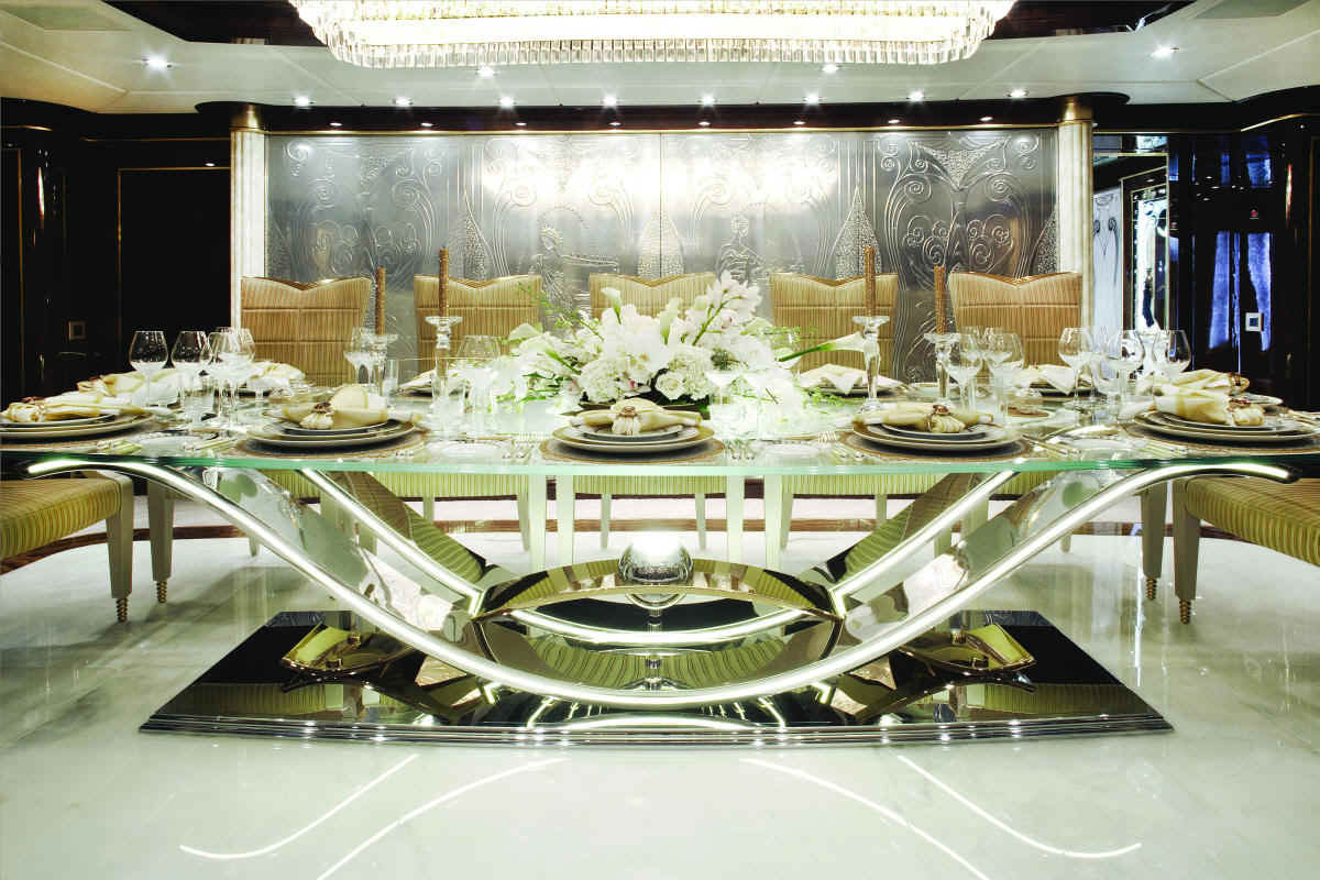 Diamonds are forever luxury bond themed charter yacht for Luxury dining room design