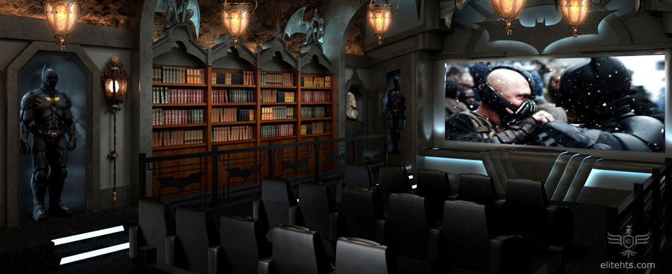 Dark knight themed home theater every mans batcave dream come true