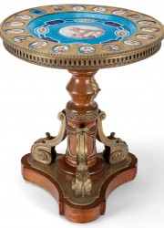 Louis-XVIII-Style-Porcelain-Gilt-Bronze-and-Wood-Tripod-Table