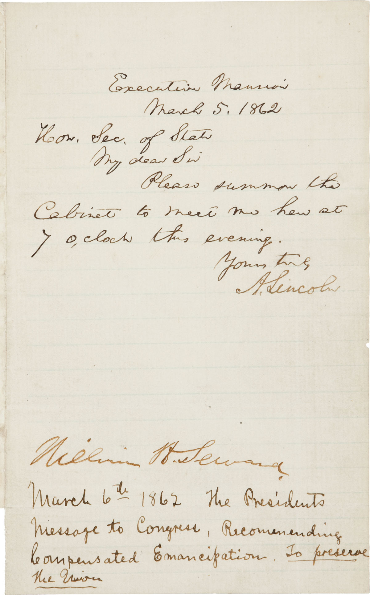 Abraham Lincoln S Emancipation Letter Expected To Fetch