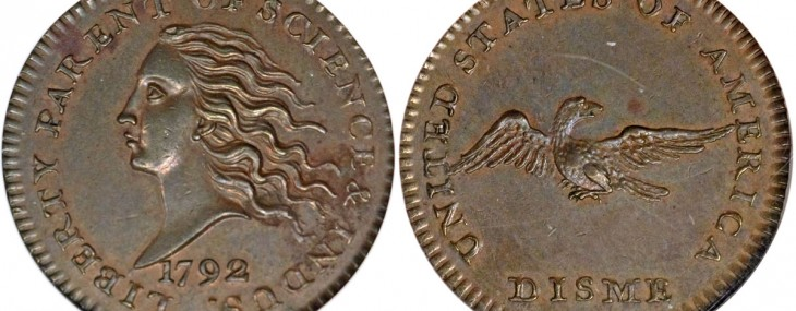 1792 pattern disme, struck in copper and graded Proof 62 Brown
