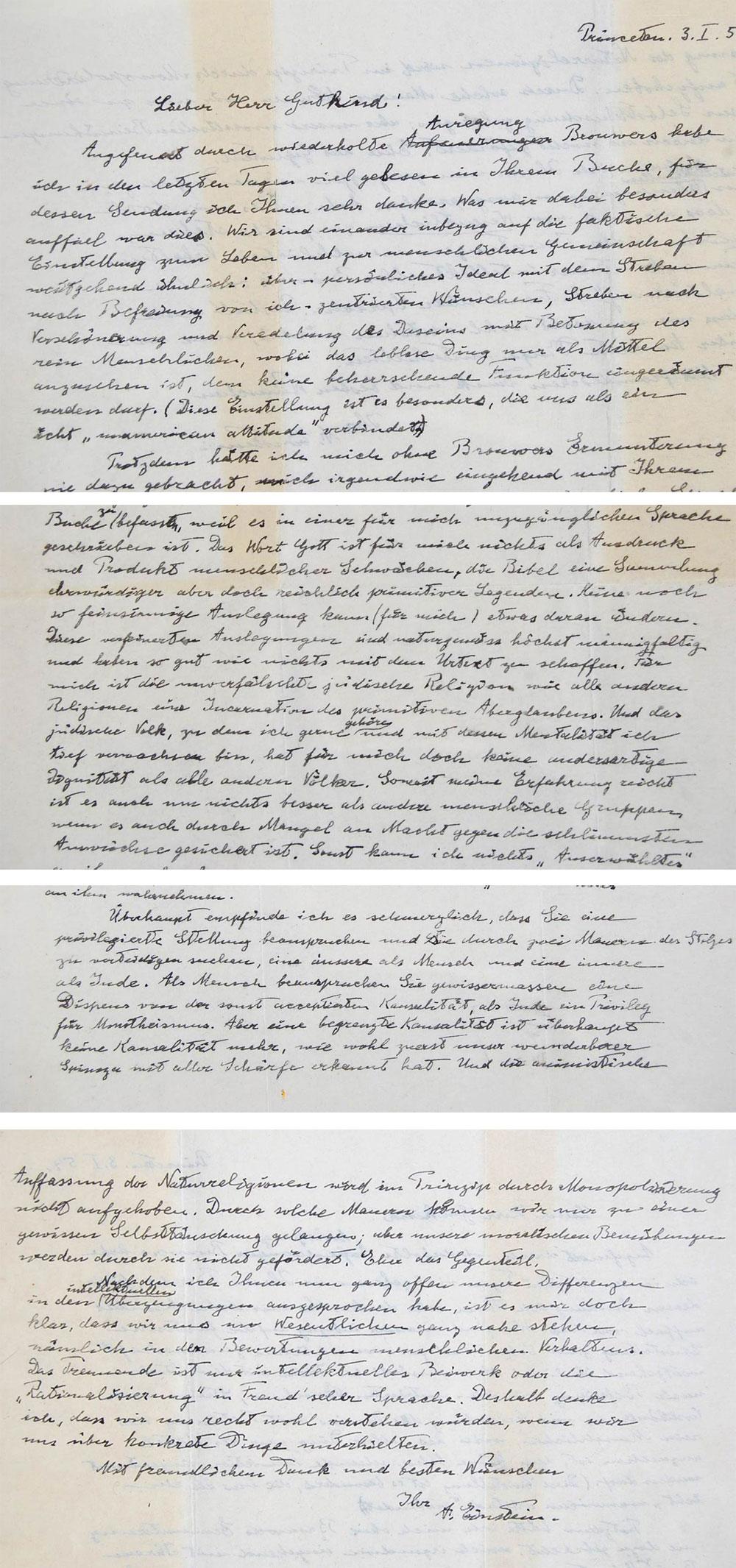Albert Einstein's handwritten letter