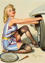 Quick Change, Brown & Bigelow calendar illustration by GIL ELVGREN