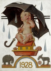 New Year's Baby, Beginning to Rain, The Saturday Evening Post cover by JOSEPH CHRISTIAN LEYENDECKER