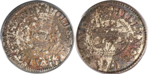 1783 SHLNG Chalmers Shilling, Long Worm AU58 PCGS. CAC. Breen-1012, W-1790, R.4